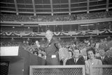 Mayor Ivan Allen throws out a pitch from the stadium seats, 1966
