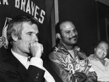 Atlanta Braves owner Ted Turner with Chris Chambliss, 1981