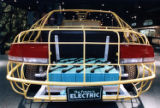 Frame of an electric car on display at the SciTrek museum, 1993
