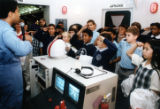 Students at the SciTrek Mission to Mars exhibit, 1992