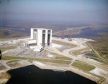 Aerial of the assembly building and transporters at Kennedy Space Center, 1966