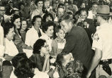 John F. Kennedy shaking hands with patients at the Georgia Warm Springs Foundation, Warm Springs,...