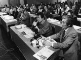 Korean business owners at a crime prevention seminar on protecting their businesses, 1986