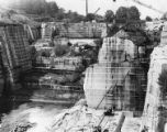 Layers of marble being cut at Tate's marble quarry, 1932