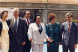 Presidential candidate Michael Dukakis vists the Martin Luther King Center with Coretta Scott...