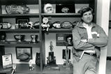 "Georgia Tech coach Bill Curry at home with his ""wall of trophies,"" Atlanta, Georgia,..."