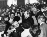 Senator Ted Kennedy meets and greets with a crowd of supporters, 1974