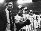 Owner Ted Turner with the Atlanta Braves' team and manager Dave Bristol, 1977