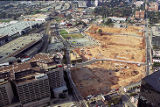 Centennial Olympic Park construction, aerial view, 1995