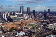 Centennial Olympic Park construction site in downtown Atlanta, 1995
