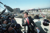 Billy Payne during a press conference as demolition begins for Centennial Olympic Park, 1995