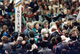 Michael Dukakis and Loyd Bentsen shaking hands with Indiana delegates at the DNC, 1988