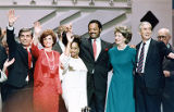 Democratic National Convention presidential candidates on stage, 1988