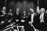 Georgia politicians at a press conference announcing Atlanta as the Democratic National Convention...