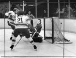 Atlanta Flames' Bill Clement and John Gould score against the Detroit Red Wings, 1977
