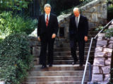 Former President Jimmy Carter endorses presidential candidate Bill Clinton at the Carter Center,...