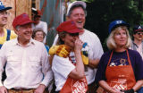 President Jimmy Carter with candidate Bill Clinton, Hillary Clinton, and Tipper Gore during a...