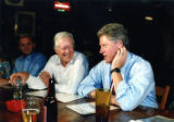 President Jimmy Carter with presidential candidate Bill Clinton at Manuel's Tavern during a visit...