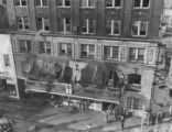 Firefighters assess the building damage of the Winecoff Hotel fire, 1946