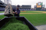 Ed Mangan preparing Turner Field's recently installed grass for opening day, 1997