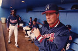 Atlanta Braves manager Russ Nixon in the dugout during spring training, 1990