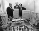 Atlanta Mayor Sam Massell inpsects at the proposed layout of Colony Square, 1971