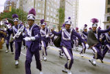 Morris Brown College's marching band performing during the Atlanta Braves World Series victory...