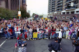 Atlanta Braves fans crowd in to see the World Series victory parade through downtown, 1995