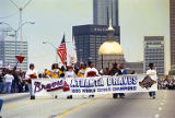 Students leading the Atlanta Braves victory parade towards Fulton County Stadium, 1995