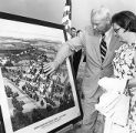 DeKalb College President Jim Cherry looks over expansion plans for the campus, 1970