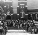 Mourners pay their respects at Sen. Walter F. George's funeral at Vienna First Baptist Church, 1957