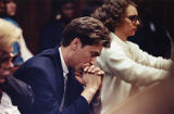 Julie Love's boyfriend Mark Kaplan in the courtroom during her killer's trial, 1990