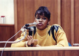 Witness Janice Weldon testifying during the Julie Love murder trial, 1990