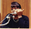 Witness Janice Weldon testifying against Emmanuel Hammond in court, 1990