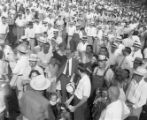 Candidate M. E. Thompson meeting with a large group of supporters, 1954