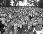 Crowds gather to hear M. E. Thompson during a campaign stop, 1954