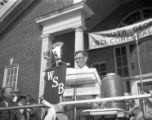 Governor Eugene Talmadge broadcasting at a campaign rally for re-election, 1946