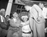 Gov. Eugene Talmadge meets with supporters while campaigning for re-election, 1946