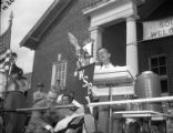Governor Eugene Talmadge addresses the crowd at a campaign rally for re-election, 1946