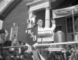 Governor Eugene Talmadge broadcasting his speech at a campaign rally for re-election, 1946