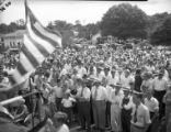 Crowds gather to hear Governor Eugene Talmadge speak during a campaign rally, 1946