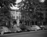 Moore's Ford Bridge mass lynching, July 25, 1946. Apartment building, possibly Monroe or Atlanta,...