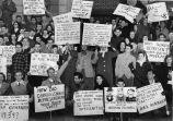 Students from West Georgia College protest the Georgia Legislature's election of Herman Talmadge...