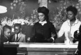 Funeral service and casket viewing of Martin Luther King Jr. by his wife Coretta and family, 1968
