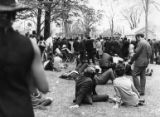 Crowds waiting on Morehouse College's campus during memorial services for Martin Luther King Jr.,...