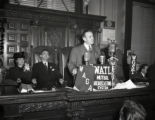 Governor M. E. Thompson addressing the state capitol, 1947