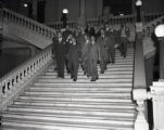 Governor M. E. Thompson with politicians inside the state capitol, 1947