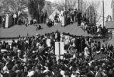 Crowds gather on rooftops near Ebenezer Church during the funeral service of Dr. Martin Luther...