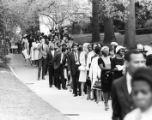 Mourners line up to pay their respects at a memorial service for Martin Luther King Jr. on Spelman...