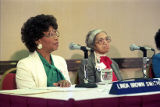 Civil rights workers Linda Brown Smith and Rosa Parks speaking during a conference on Women and...